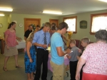 Youth move quickly to the fellowship room